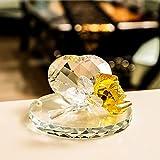 HUANSUN Feng Shui Crystal Rose Flower Crafts Adornos de Vidrio Home Wedding Party Decor Regalos Souvenir, Amarillo
