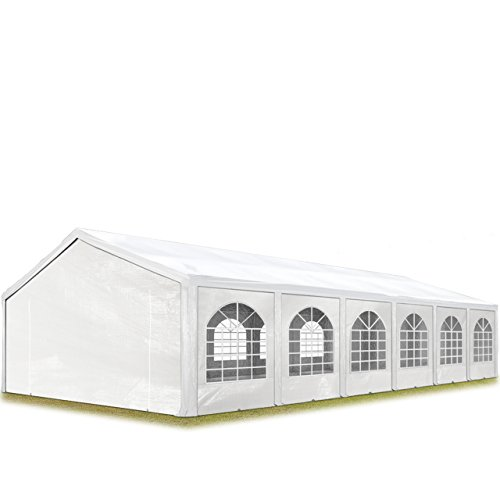 TOOLPORT Hochwertiges Partyzelt 6x12 m Pavillon Zelt ca. 240g/m² PE Plane Gartenzelt Festzelt Wasserdicht weiß