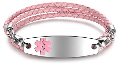 JF.JEWELRY Medical Alert ID Bracelets for Women 3-Layers Pink Braided Leather Link Bracelets-Free Engraving