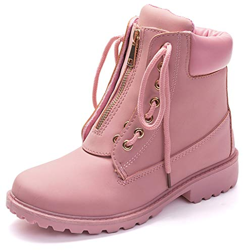DADAWEN Waterproof Ankle Bootie for Women Round Toe Lace Up Low Heel Work Combat Boots Pink US Size 11