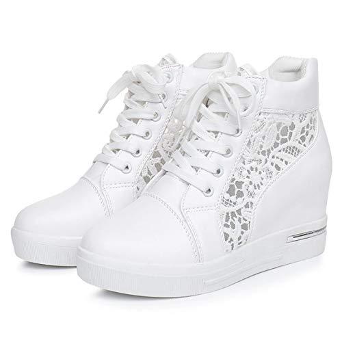 Zapatos Gruesos de Mujer con Cordones, Informales, Simples, Primavera Verano, al Aire Libre, Puntiagudos, Creepers, Zapatos Blancos Lisos de tacón Alto para Vestir