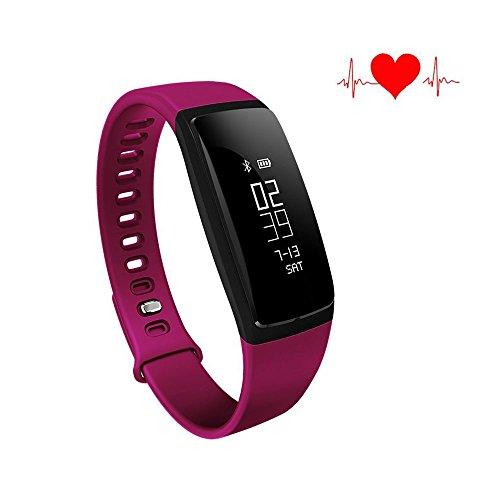 Qimaoo, Orologio sportivo intelligente, Con misurazione della pressione sanguigna, Aggiornato a Bluetooth 4.0 HR BP, Con contapassi, cardiofrequenzimetro, memoria delle distanze percorse, notifiche di chiamata, monitoraggio del sonno, contacalorie, Adatto a iOS, iPhone, o smartphone Android