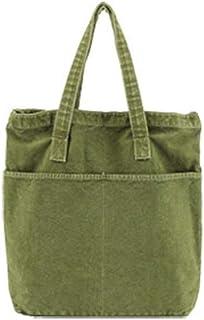 Howoo Damen Grosse Kapazität Segeltuch Retro Schultertasche Jahrgang Handtasche Umhängetasche Grün