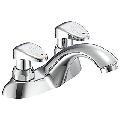 Delta Faucet 86T1153 86T Two Handle Metering Slow-Close Bathroom Faucet, Chrome,5.50 x 7.25 x 9.25 inches