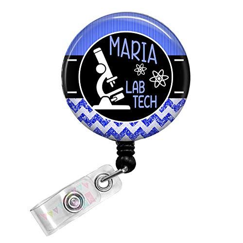 Personalized - Lab Tech with Microscope - Blue - Glitter Chevron - Button Badge Reel - BR0037