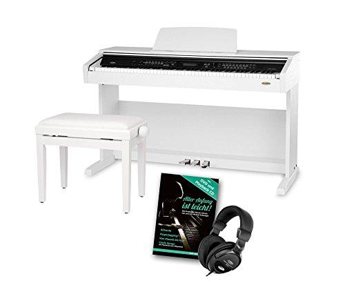 Classic Cantabile DP-A 310 WM E-Piano SET (Digitalpiano 88 Tasten Hammermechanik, Kopfhöreranschluss, USB, Begleitautomatik, 3 Pedale, Piano für Anfänger + Pianobank + Kopfhörer + Schule) weiß