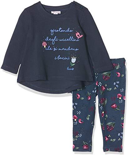 MEK Completo 2 Pezzi Top Punto Milano con Collo Staccabile E Leggings Conjunto de Ropa, Azul (BLU 35 207), 74 (Talla del Fabricante: 9M) para Bebés