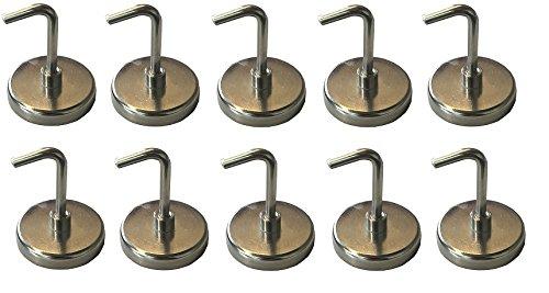 10 Stück Magnethaken - Halter mit Traglast von bis zu 6 kg - Superstarke Magnete