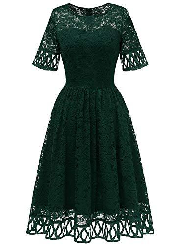 MuaDress 6068 Cocktailkleid Damen Abendkleid Kurz Kleid Festlich Spitzenkleid Knielang für Hochzeit Dunkelgrün 3XL