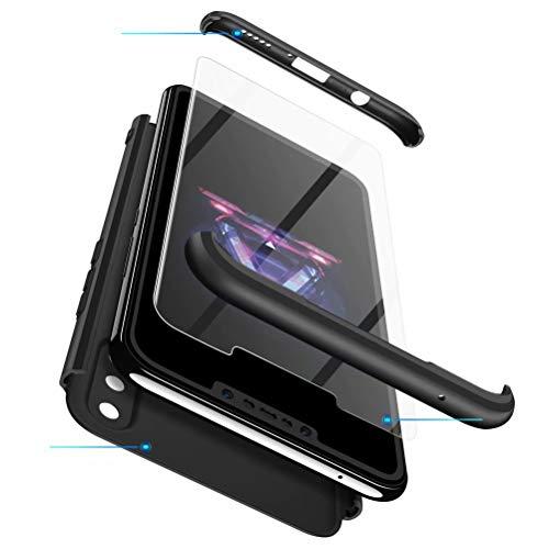 MISSDU kompatibel mit Premium Hart PC 360 Grad Hülle Huawei Nova 3i/ P Smart+ Hülle + Panzerglas,3 in1 Handytasche Handyhülle Schutzhülle Cover - Silber schwarz - 5
