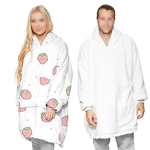 HGYJ Jerseys De Manta para Hombres Y Mujeres,OtoñO E Invierno MáS Pijamas De Terciopelo,Ropa De Casa De Manga Larga(Se Puede Usar en Ambos Lados.),White2