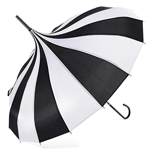 BABEYOND Pagoda Parasol Umbrella Vintage Wedding Bridal Decoration Umbrella for Photo Lady Costume (Black White, Style-2)