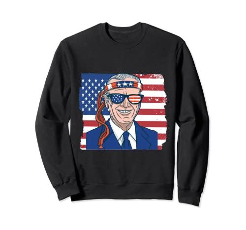 Joe Biden 4th of July patriotic vintage American flag Sudadera