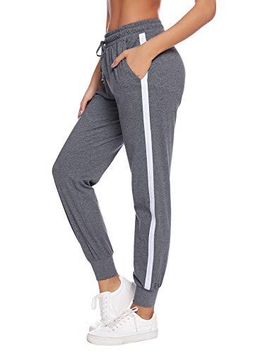 Hawiton Damen Jogginghose mit Streifen Sporthose Lang Baumwolle Freizeithose Fitness Yoga Hose High Waist Rippbündchen Dunkelgrau L