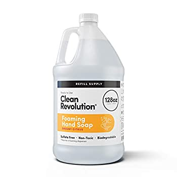 Clean Revolution Foaming Hand Soap Refill Supply Container Ready to Use Formula Dreamy Citrus Fragrance 128 Fl Oz