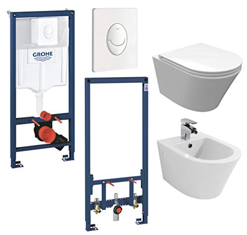 vanvilla Wand Hänge WC Toilette spülrandlos SoftClose-Deckel Hänge-Bidet Luanda mit Grohe Vorwandelement weiss SET