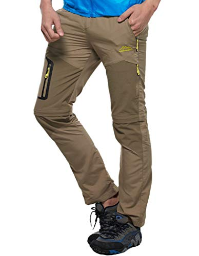 Amoystyle Men's Water-Repellent Quick Dry Convertible Hiking Pants Khaki Asian 5XL