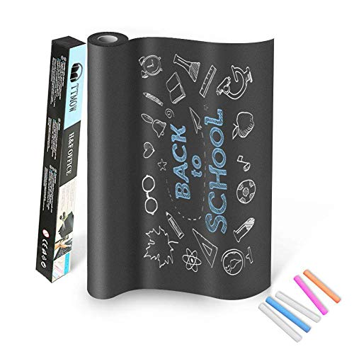 TTMOW Vinilo Lámina de Pizarra Negra Flexible Adhesivo Removible para Escribir y Borrar (Incluye 5 tizas), 60 x 200 cm, Color Negro