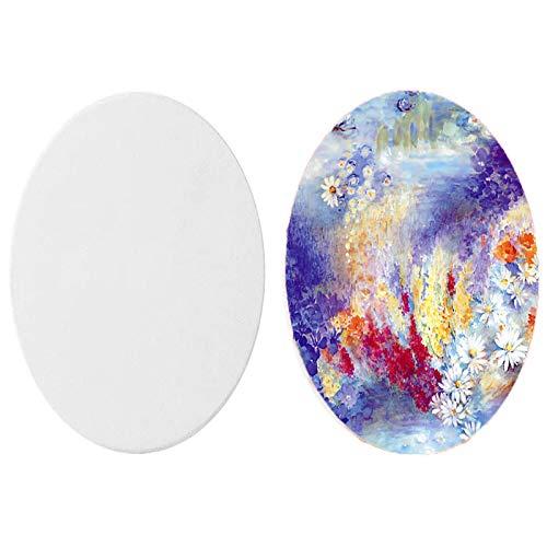 Lienzo ovalado para pintura al óleo, con marco, bastidor con tela para pintura artística, color blanco, 2 unidades, Algodón., 30cm*40cm