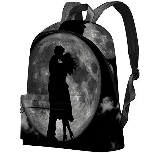 Kissing in The Moonlight - Mochila Infantil para Adolescentes Besar en la luz de la Luna 17.3x13.7x5.5 in