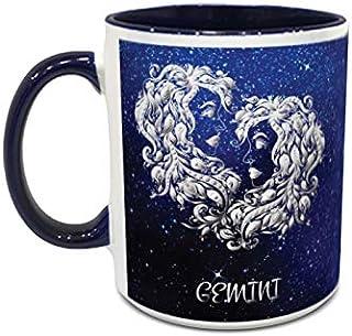 IMPRESS White and Blue Ceramic Coffee Mug with Gemini Design