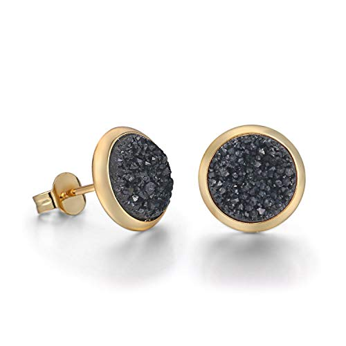 Tiny 6mm Round 18k Gold Plated Natural Stone Druzy Stud Earrings Women (Black)