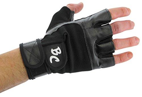 Bad Company I Fitness Handschuhe Black Eagle I Trainingshandschuhe aus Leder I Inkl. Handgelenksbandagen I Gr. M