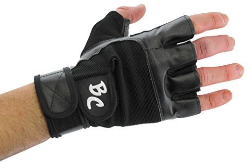 Bad Company I Fitness Handschuhe Black Eagle I Trainingshandschuhe aus Leder I Inkl. Handgelenksbandagen I Gr. L