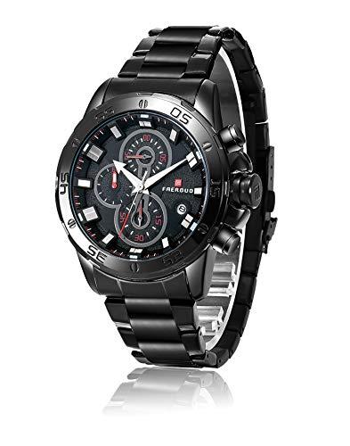 Faerduo Reloj Cronógrafo para Hombre de Cuarzo con Acero Inoxidable Reloj de Pulsera Moda Impermeables Hombres F8218M
