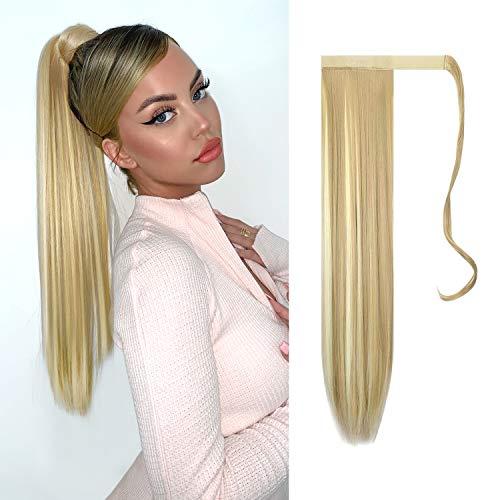 FESHFEN Cola de Caballo Extensiones Postizos de pelo fibras sintéticas de cabello pelo liso largo...