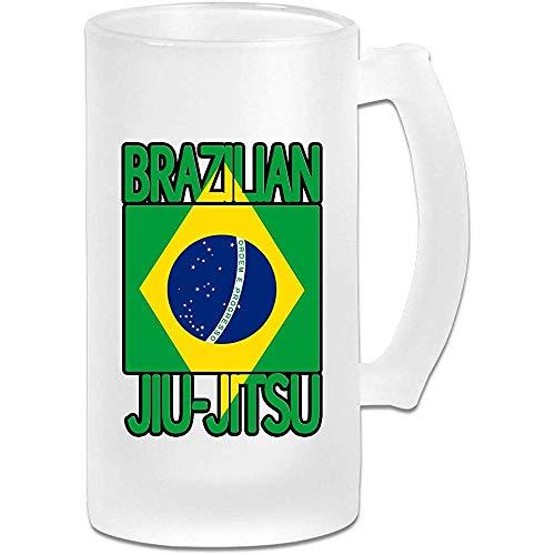Braziliaanse Jiu Jitsu Frosted Glass Stein Bier Mok, Pub Mok, Drank Mok, Cadeau voor Bier Drinker, 500Ml (16.9Oz)