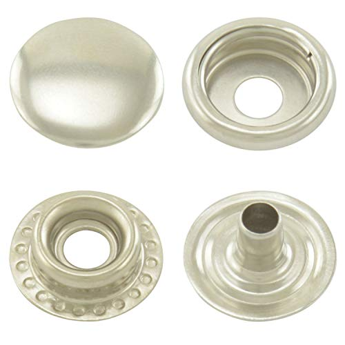 GETMORE Parts Druckknöpfe Ringfeder, Ring-Feder-Buttons, R-Feder-Snaps, Stahl - ab 50 Stück, Silber vernickelt, 15 mm