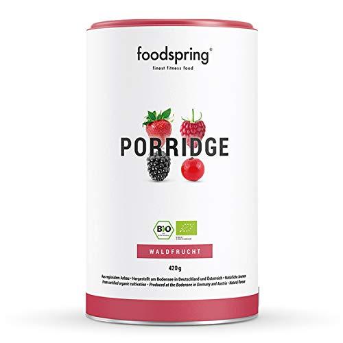 foodspring Porridge Proteico, Frutti di bosco, 3 x 420g, Porridge di soia al 100%, Meno zuccheri aggiunti, Sapore più autentico