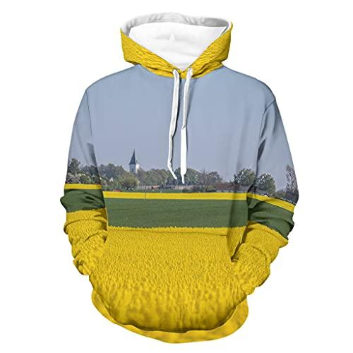 Niersensea Sudadera con capucha para adolescentes, diseño de flores de colza, color amarillo, estampado 3D con bolsillo tipo canguro, Unisex adulto, Blanco, large