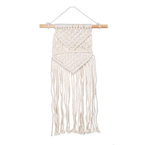 Kare & Kind Macrame Wall Hanging Small Art - Woven Tapestry - Bohemian Style - Dining Room Wall, Living Room Decoration, Bedroom, Kitchen - (18cm Width x 47cm Height) - Gift and Home Boho Chic Decor