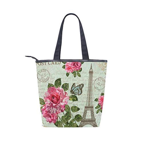 BKEOY Große Handtasche Schultertasche Vintage Paris Postkarte Muster Tote Zipper Shopper