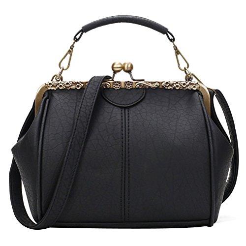 Abuyall Retro Kiss Lock PU Leder Minimalistische Tasche Schultertasche Strass Applikation Purse Handtasche Toten Tasche Satchel für Damen, Braun - Pt5. - Größe: Medium