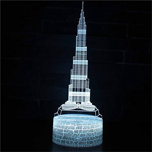 Lámpara de ilusión 3D botón táctil 7 colores cambiantes LED ilusión luz nocturna ilusión lámpara de mesa que se puede utilizar como regalo de vacaciones noche luz de humor famoso edificio