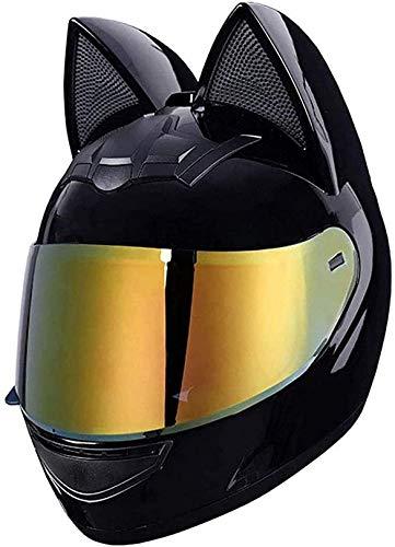 XLYYHZ Casco de motocicleta para mujer, con certificado DOT, casco integral para motocross, para cuatro estaciones, todoterreno, con visera solar para casco negro (54-62 cm)