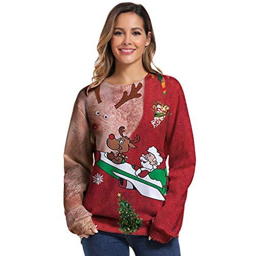 LILICAT Damen Langarmshirt Pullover Sweatshirt Motiv für Weihnachten Frauen Lang Strickpulli Weihnachtspullover Rundhals Winterpulli Christmas Sweater Tunika Oberteile Tops