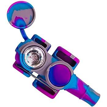 Silicone Pipe Silicone Portable Creative Small Tools - for Smoking Tobacco (Gray-Purple-Blue)