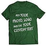 lepni.me Camisetas Hombre Regalo Personalizado, Agregar Logotipo de la Compañía, Diseño Propio o Foto (Small Verde Oscuro Multicolor)