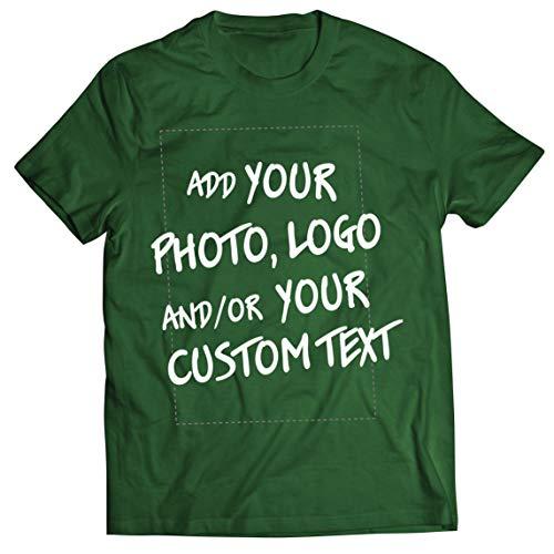 lepni.me Camisetas Hombre Regalo Personalizado, Agregar Logotipo de la Compañía, Diseño Propio o Foto (Large Verde Oscuro Multicolor)