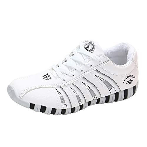 Damen Sneaker Fitness Ultra-Light Laufschuhe Atmungsaktiv Running Schuhe Art Und Weise Wilde Bequeme Flache Beiläufige Turnschuhe, Die Turnschuhe Wandern(Weiß,40)