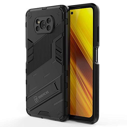 DOINK Panzer Handyhülle für Xiaomi Poco X3 Pro / X3 NFC, TPU+PC Schutzhülle Silikon Hülle Stoßfest Hülle Cover Ständer - Schwarz