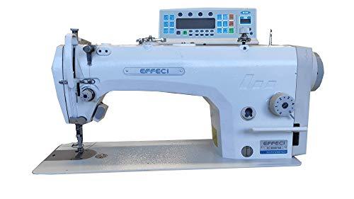 EFFECI 9000 FSS - Máquina de coser industrial completa con tabla y soporte con rascable, tope, elevador automático y motor integrado
