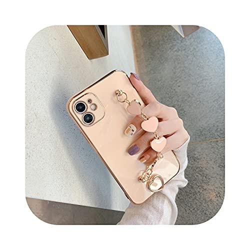 Pulsera de muñeca de cadena de corazón de amor chapado para iPhone 12 Pro Max MiNi 11 Pro Max X XS XR 7 8 Plus SE 2020 Cover-3-for iphone 12ProMax