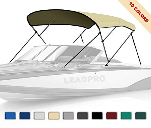 Leadpro 10 Optional Colors 13 Different Sizes 3-4 Bow Bimini Top Boat Cover with 4 Straps, Mounting Hardwares & Storage Boot (Beige, 3 Bow 6'L x 46' H x 54'-60' W)