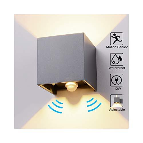 Wandleuchte Bewegungsmelder Aussen/Bewegungsmelder Innen LED Wandlampe, 12W Warmweiß Wasserdicht Verstellbare Aussenlampe, Wandleuchte Sensor für Garten/Flur/Weg Veranda Hell-Eckig (Dunkelgrau)