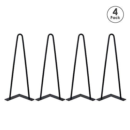 Locisne 16 'Two-Rod horquilla Metal de las patas de la mesa,Acero Fundido Negro 9mm,Paquete de 4,Estilo Moderno,Comedor,Muebles,Accesorios para Los Muebles de Madera,Mesa de café,Mesa de comedor